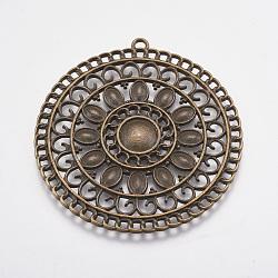 Alliage de style tibétain rondes plat supports grand pendentif aztèque cabochon, sans plomb et sans nickel, bronze antique, 55.5x53x2.5mm, Trou: 2mm(X-PALLOY-A17050-AB)