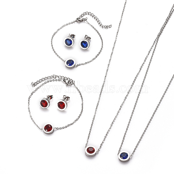 304 Stainless Steel Jewelry Sets, with Rhinestone, Cable Chains Necklaces, Bracelets and Stud Earrings, with Ear Nuts/Earring Back, Flat Round, Stainless Steel Color, Mixed Color, 17.9 inches(45.5cm), 6-3/4 inches(17cm), 16x9.5x4mm, Pin: 0.7mm(SJEW-F213-11-P)