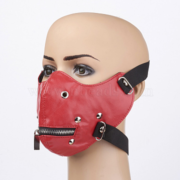 Punk Rock Style PU Leather Mouth Cover, with Iron Findings, Red, 245x130mm(X-AJEW-D038-01)