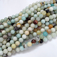 Natural Flower Amazonite Beads Strands, Round, 6mm, Hole: 1mm, about 61pcs/strand, 15.5 inches(39.5cm)