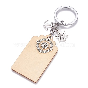 Wood Keychain, with Brass Split Key Rings and Alloy Pendants, Rectangle with Anchor & Compass & Helm, Wheat, 126mm, Rectangle: 68x38.5x2mm, Anchor: 18x15x2mm, Compass: 29x25x3mm, Helm: 21x16x2.5mm(X-KEYC-JKC00187)