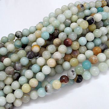 Natural Flower Amazonite Beads Strands, Round, 6mm, Hole: 1mm, about 61pcs/strand, 15.5 inches(39.5cm)(X-G-G692-01-6mm)