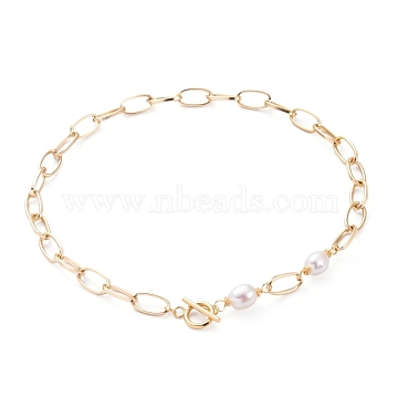 Aluminium Paperclip Chain Necklaces, with Natural Baroque Pearl Keshi Pearl Beads and 304 Stainless Steel Toggle Clasps, Golden, 16.33 inches(41.5cm)(X-NJEW-JN02865)