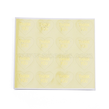 Thanksgiving  Sealing Stickers, Label Paster Picture Stickers, for Gift Packaging, Heart with Word Thank You, Champagne Yellow, 28x32mm(DIY-I018-20A)