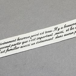 """Mots de ruban de coton imprimé, noir, 5/8"""" (15 mm); environ 20yards / rouleau (18.28m / rouleau)(OCOR-S026-21)"""