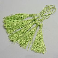 Décorations de gros pendentif pompon en polyester, greenyellow, 130x6mm; Tassel: 80mm(X-OCOR-Q023-09)