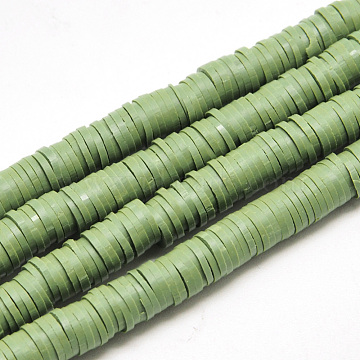Handmade Polymer Clay Beads, Disc/Flat Round, Heishi Beads, Olive Drab, 4x1mm, Hole: 1mm, about 380~400pcs/strand, 17.7 inches(X-CLAY-R067-4.0mm-43)