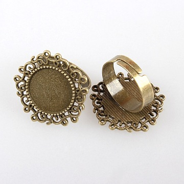 Vintage Adjustable Iron Flower Finger Ring Components Alloy Cabochon Bezel Settings, Cadmium Free & Nickel Free & Lead Free, Antique Bronze, Flat Round Tray: 14mm; 17mm(X-PALLOY-O036-01AB-NF)