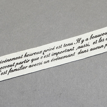 Words Printed Cotton Ribbon, Personalized Ribbon, Black, 5/8 inch(15mm), about 20yards/roll(18.28m/roll)(OCOR-S026-21)