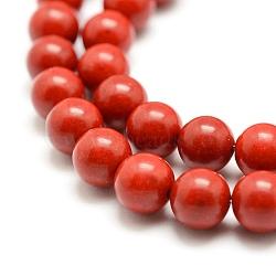 perles synthétiques de corail brins, teints, arrondir, rouge, 8 mm, trou: 1 mm; environ 48 perle / brin, 15.7 (40 cm)(X-CORA-J002-8mm)