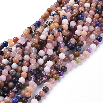 Natural Gemstone Beads Strands, Dyed, Mixed Stone, Round, 5.8~6.8mm, Hole: 0.7mm, about: 66pcs/Strand, 15 inches~15.5 inches(38~39cm)(G-F591-03-6mm)