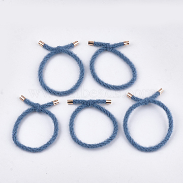 Imitation Wool Girls Hair Accessories, Ponytail Holder, Elastic Hair Ties, with Brass Findings, SteelBlue, 45~48mm(OHAR-S190-16B)