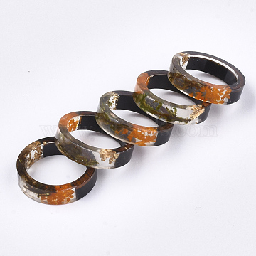 Epoxy Resin & Ebony Wood  Rings, with Dried Flower, Gold Foil, Olive, 16mm(RJEW-S043-01A-02)