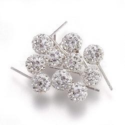 Sexy valentines cadeaux de jour pour son argent sterling strass cristal autrichien balle boucles d'oreille, cristal, environ 6 mm de diamètre, Longueur 15mm, pin: 0.8 mm d'épaisseur(Q286J011)