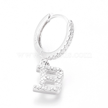 925 Sterling Silver Hoop Earrings, Dangle Earrings, with Cubic Zirconia, Carved with S925, Letter, Clear, Platinum, Letter.B, 20mm; Pendants: about 8.5x6x1.5mm; Pin: 0.6mm(EJEW-D251-B-P)