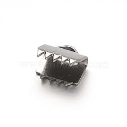 304 extrémités du ruban en inox, rectangle, couleur inox, 6x6.5 mm, trou: 2.5x1.5 mm(STAS-G130-11A)