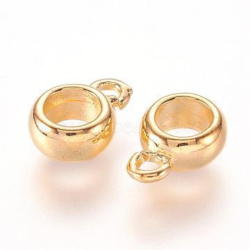 Brass Hanger Links, Bail Beads For European Chains, Rondelle, Golden, 11.5x8x4mm, Hole: 2mm, Inner Diameter: 5mm(KK-E706-01B)