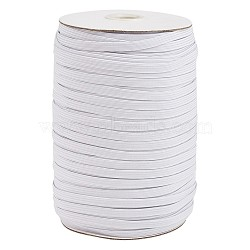 3/8inch Flat Braided Elastic Rope Cord, Heavy Stretch Knit Elastic with Spool, White, 8~8.5mm; about 90~100yards/roll(300 feet/roll)(EC-R030-8mm-01)