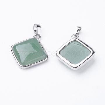 Platinum Rhombus Green Aventurine Pendants