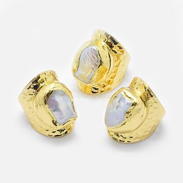 Pearl Finger Rings, Wide Band Rings, with Brass Findings, Golden, US Size 8 1/2(18.5mm)(RJEW-P068-03G)