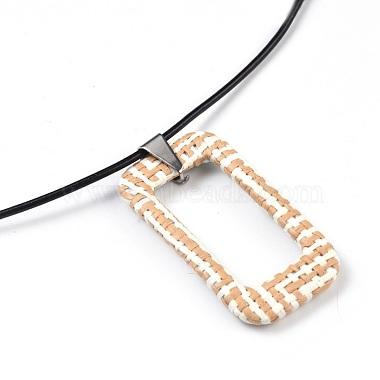 Raffia Woven Pendants Necklaces(NJEW-JN02360-02)-2
