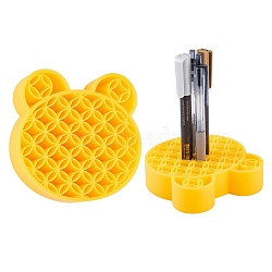 Multipurpose Silicone Storage Box, for Cosmetics Brush Holder, Pen Holder, Toothbrush Holder, Lipstick Holder, Bear, Gold, 11.15x11.35x2.85cm(AJEW-WH0126-36C)