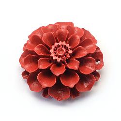 Liens fleur de cinabre, firebrick, 34x33.5x15mm, Trou: 2mm(CARL-Q003-44)