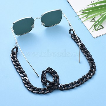 Eyeglasses Chains, Neck Strap for Eyeglasses, with Acrylic Curb Chains, 304 Stainless Steel Jump Rings and Rubber Loop Ends, Black, 27.56 inches(70cm)(AJEW-AL0009-02)