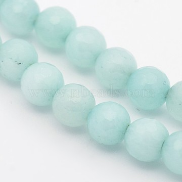 Dyed Faceted Round Natural Amazonite Beads Strands, 6mm, Hole: 1mm, about 63pcs/strand, 15.55 inches(G-E302-095-6mm)