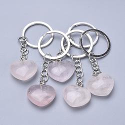 porte-clés quartz rose naturel, avec les conclusions de fer, cœur, 80 mm(X-KEYC-S253-09)
