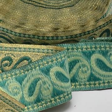 Polyester Ribbons, with Teardrop Pattern, Light Sea Green, 1-5/8 inches(40mm), 33yards/roll(30.1752m/roll)(OCOR-L018-19B-40mm)