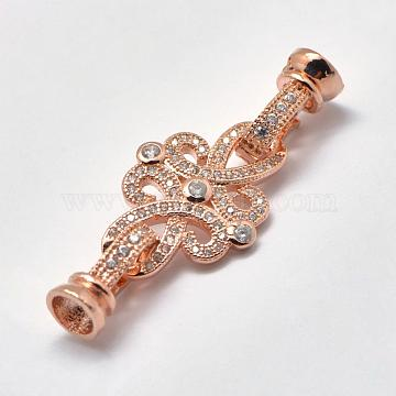 Brass Micro Pave Cubic Zirconia Fold Over Clasps, Flower, Rose Gold, 40x15.5mm, Hole: 2mm(KK-K180-03RG)