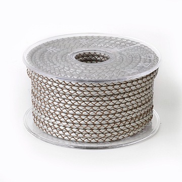 Braided Cowhide Cord, Leather Jewelry Cord, Jewelry DIY Making Material, Silver, 3mm, about 21.87 yards(20m)/roll(WL-I004-3mm-B-28)