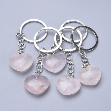 Natural Rose Quartz Keychain, with Iron Findings, Heart, 80mm(X-KEYC-S253-09)