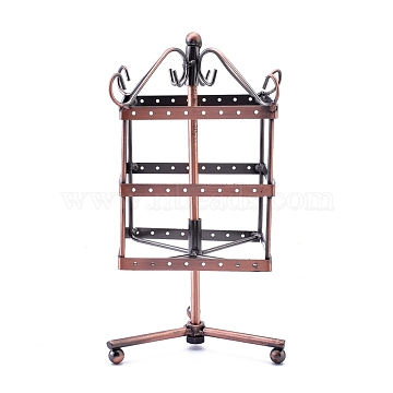 Iron Rotating 3-Tier Earring Display Stand, for Hanging Dangle Earring, 96 Holes, Red Copper, 120x120x240mm(EDIS-K002-05R)