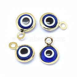 breloques au chalumeau faites main, avec les résultats en laiton, plat rond, bleu, véritable plaqué or, 10x6.5x3 mm, trou: 1.5 mm(KK-F764-13G-04)