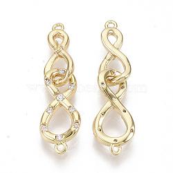 liens de bails en laiton, avec de la zircone cubique clair, pour la moitié de perles percées, sans nickel, double infini, réel 18 k plaqué or, 24.5x7x3 mm, trou: 0.8 mm; broches: 0.5 mm(KK-S355-028-NF)