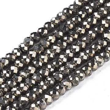 Natural Pyrite Beads Strands, Rondelle, Faceted, 4x3mm, Hole: 0.7mm; about 131pcs/strand, 15.55''(39.5cm)(G-R475-005)