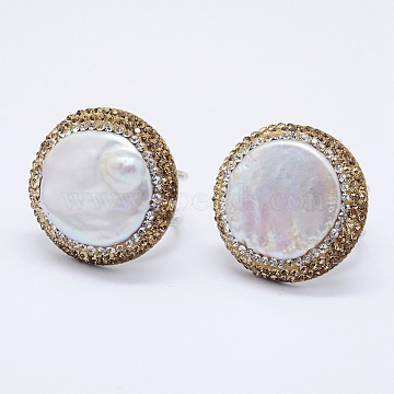 Natural Pearl Finger Rings, with Polymer Clay Czech Rhinestone and Brass Findings, Lead Free & Cadmium Free & Nickel Free, Flat Round, Gold, 18mm(RJEW-F077-36A-NR)