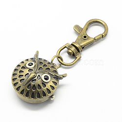 Rétro porte-clés accessoires alliage hibou montre à quartz pour porte-clés, avec mousquetons de fer, bronze antique, 70 mm; hibou: 28x26x15 mm, boitier montre: 17 mm de diamètre(WACH-R009-005AB)