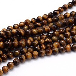 Natural Tiger Eye Beads Strands, Grade A, Round, 4mm, Hole: 1mm; about 90pcs/strand, 15.3inches