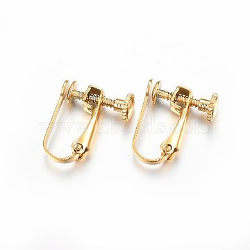 304 Stainless Steel Clip-on Earring Findings, Golden, 15x12.5x5mm(X-STAS-H467-04G)