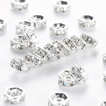 Brass Rhinestone Spacer Beads, Grade A, Straight Flange, Silver Color Plated, Rondelle, Crystal, 6x3mm, Hole: 1mm(RB-A014-Z6mm-01S)