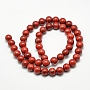 Natural Howlite Beads, Dyed, Round, Red, 8mm, Hole: 1mm; about 47pcs/strand, 15.5""