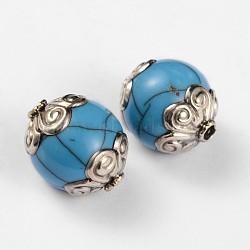 Perles rondes de style tibétain, turquoise synthétique et conclusions de laiton d'argent anciennes, bleu foncé, 18x15mm, Trou: 2mm(TIBEB-F041-10B)