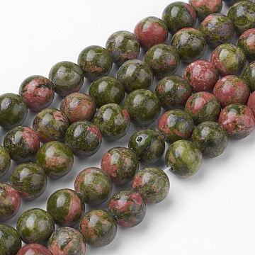 Natural Unakite Bead Strands, Round, 8~8.5mm, Hole: 1mm; about 45~47pcs/strand, 14.9''(38cm)(G-G735-67-8mm)