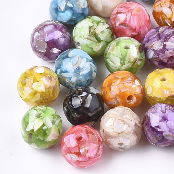14mm Mixed Color Round Shell+Resin Beads