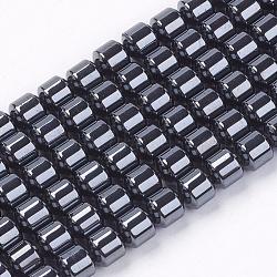 колонка магнитного синтетического гематита из бисера, черный, 5x5 mm, отверстия: 1 mm; о 78 шт / прядь, 16.5(X-G-Q235)