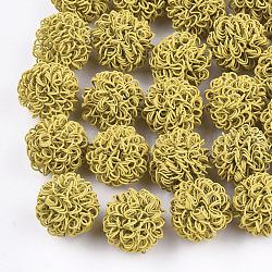 Perles de fil de fer environnementales peintes par pulvérisation, rond, lightkhaki, 16~17mm(IFIN-T009-09H)