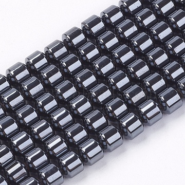 Column Magnetic Synthetic Hematite Bead Strands, Black, 5x5mm, Hole: 1mm, about 78pcs/strand, 16.5 inches(X-G-Q235)